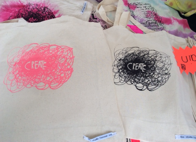 Screen printed bags, made by Studioettes